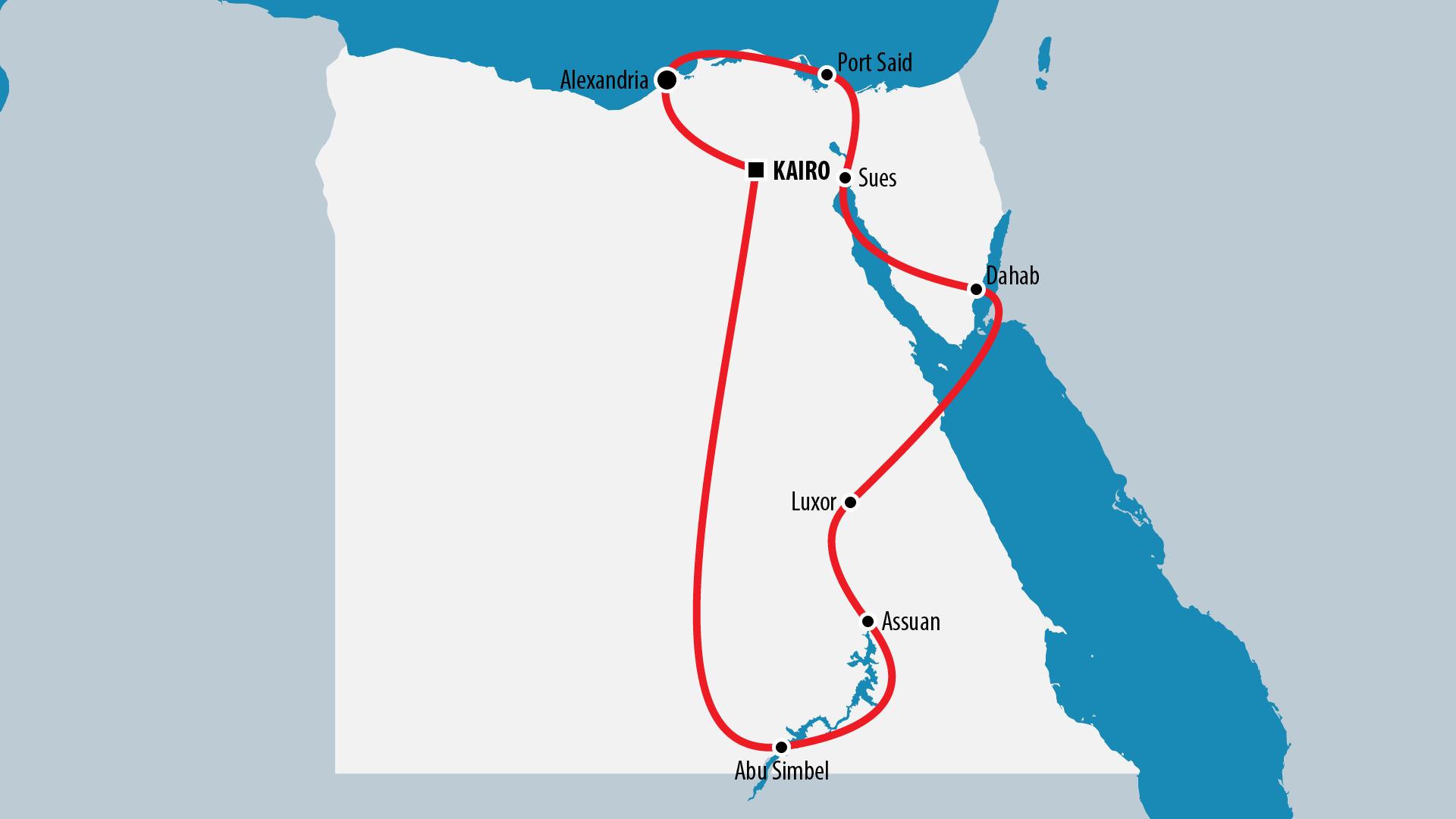 Reiseroute Ägypten 2008