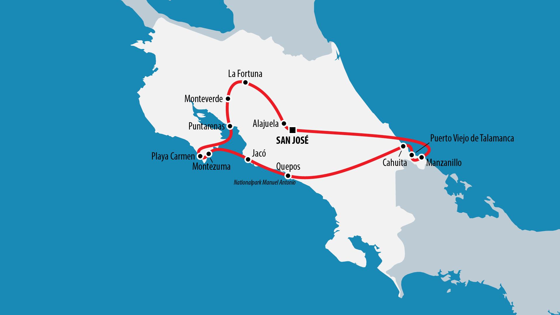 Reiseroute Costa Rica 2016