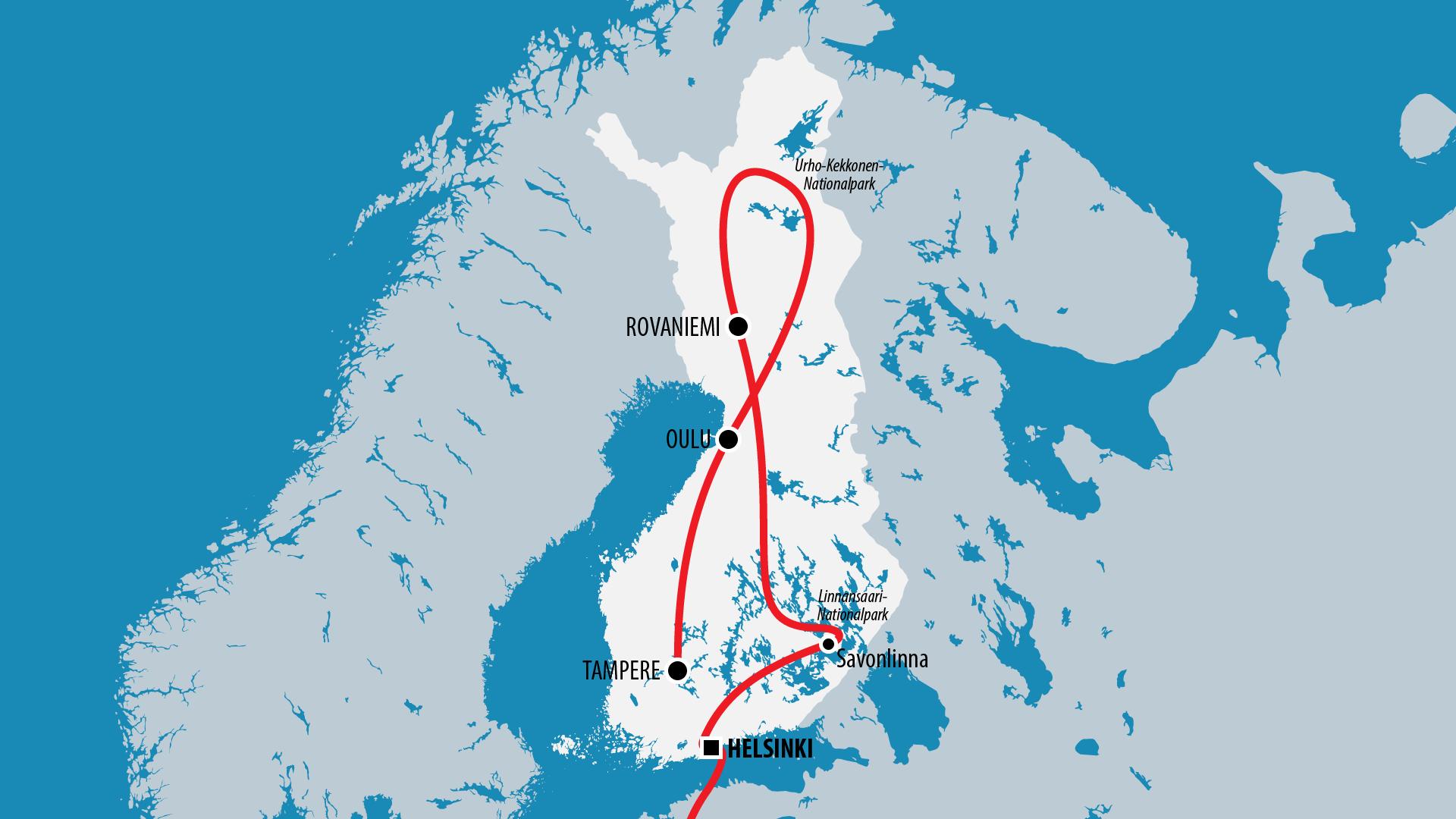 Reiseroute Finnland 2005