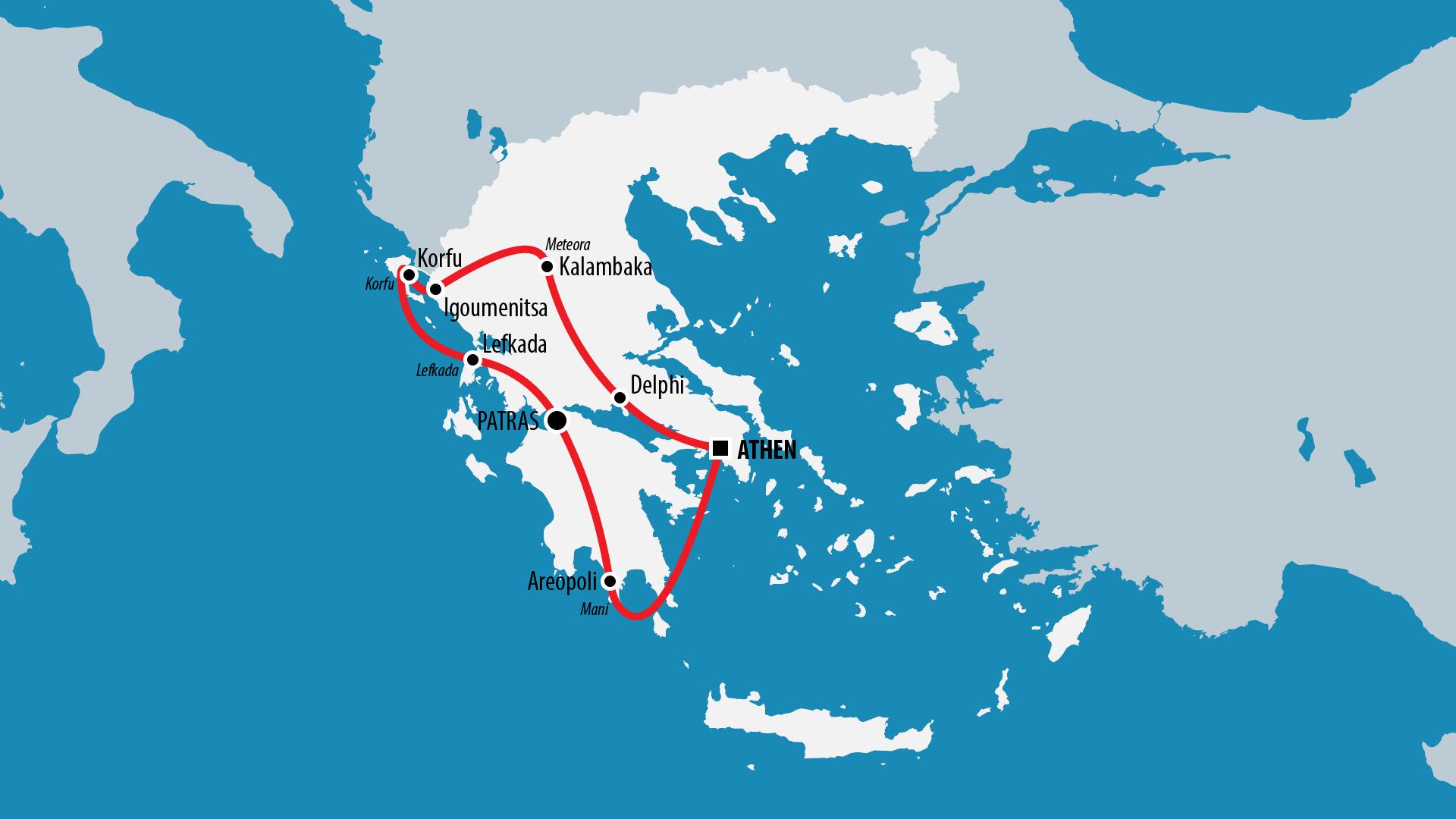 Reiseroute Griechenland 2007