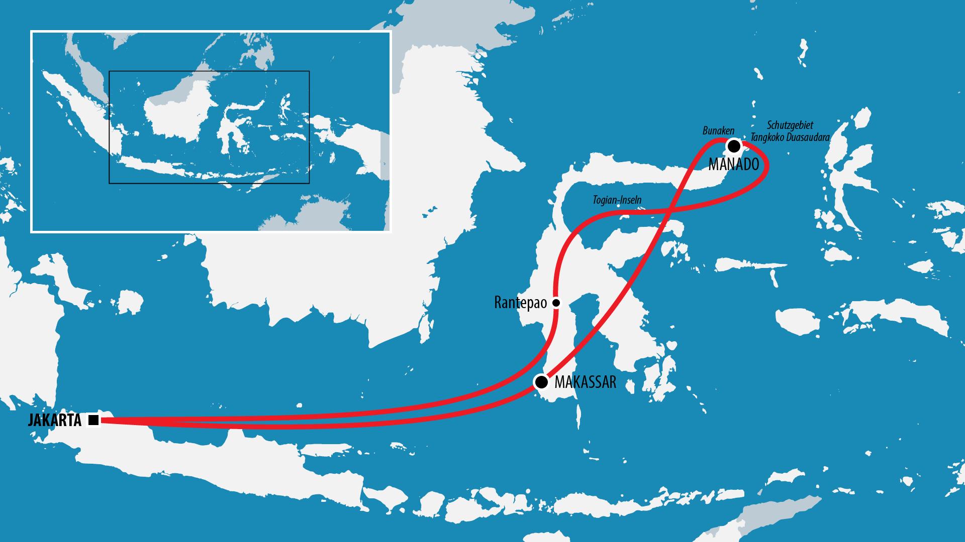 Reiseroute Indonesien 2013