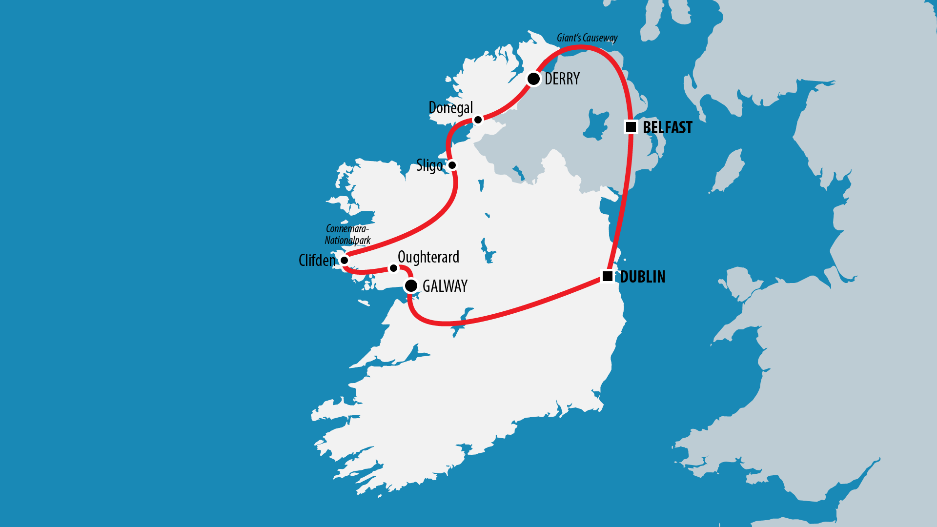 Reiseroute Irland 2006