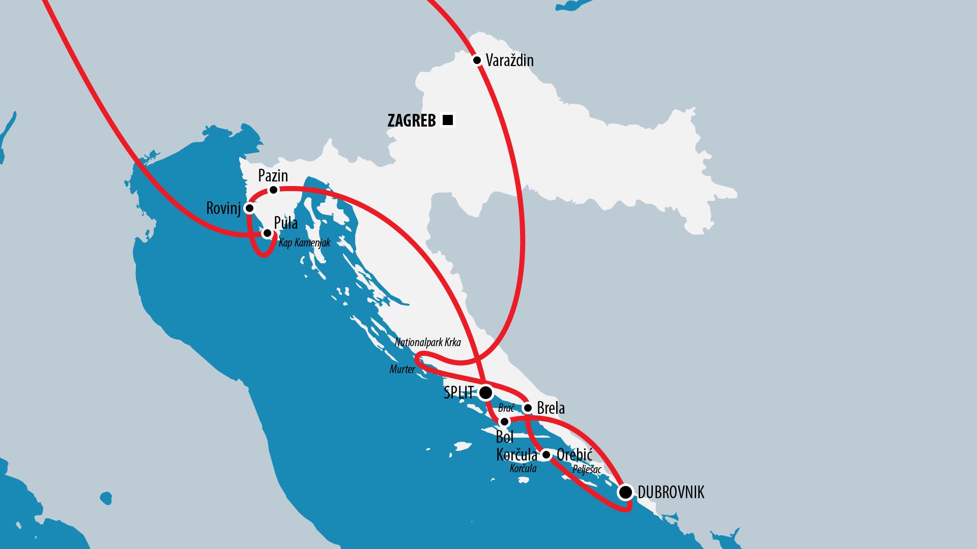 Reiseroute Kroatien 2012