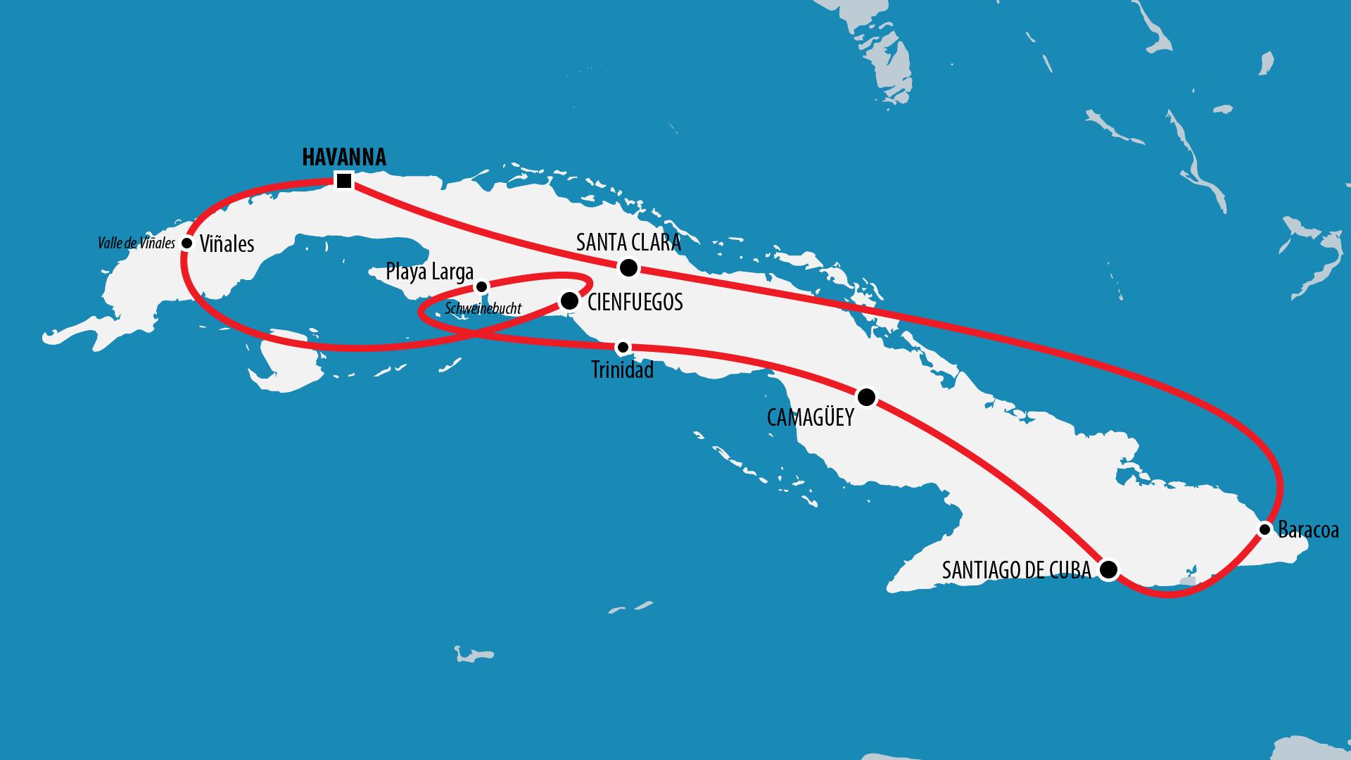 Reiseroute Kuba 2014