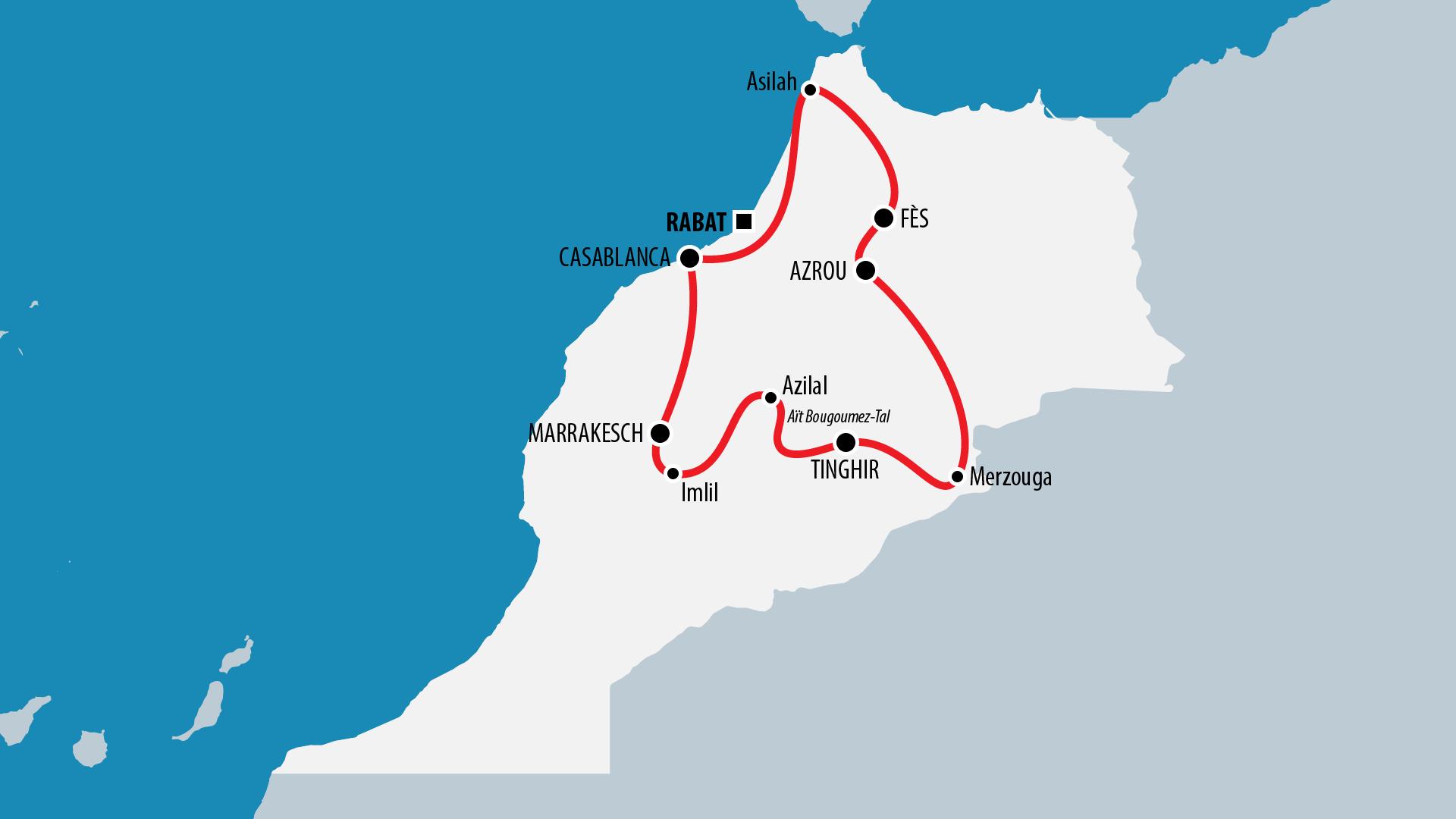 Reiseroute Marokko 2003