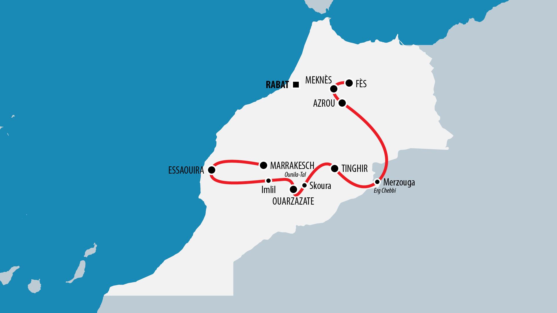 Reiseroute Marokko 2015
