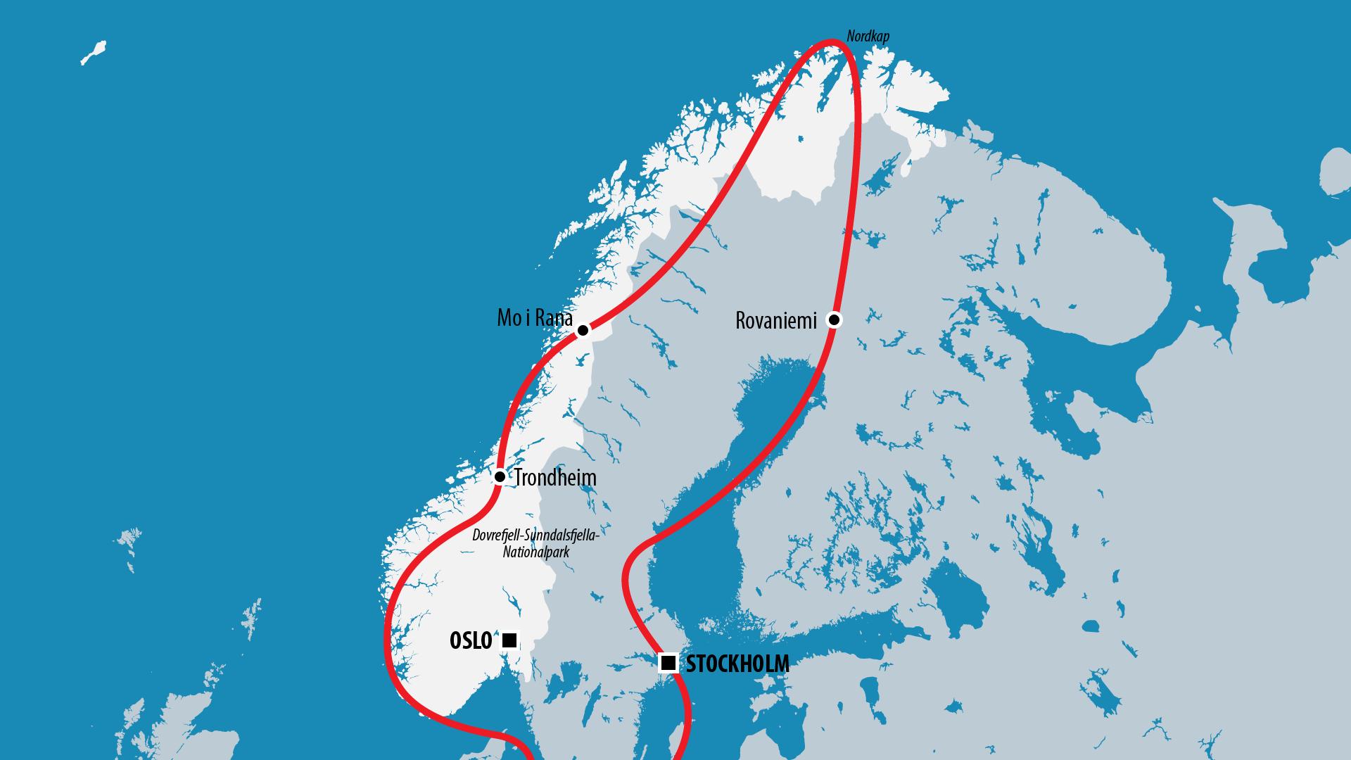 Reiseroute Norwegen 2008