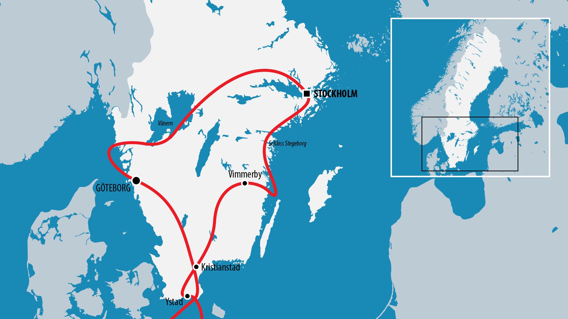 Reiseroute Schweden 2010