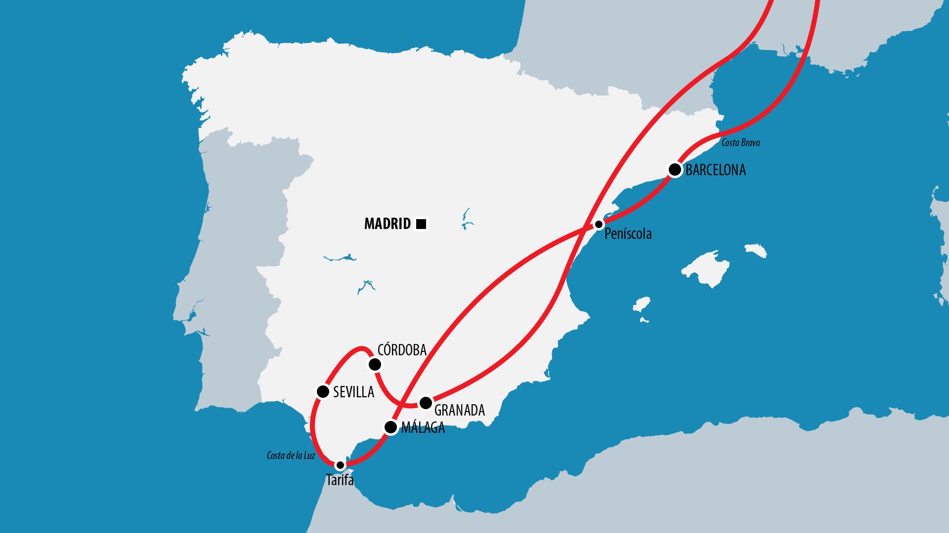 Reiseroute Spanien 2011