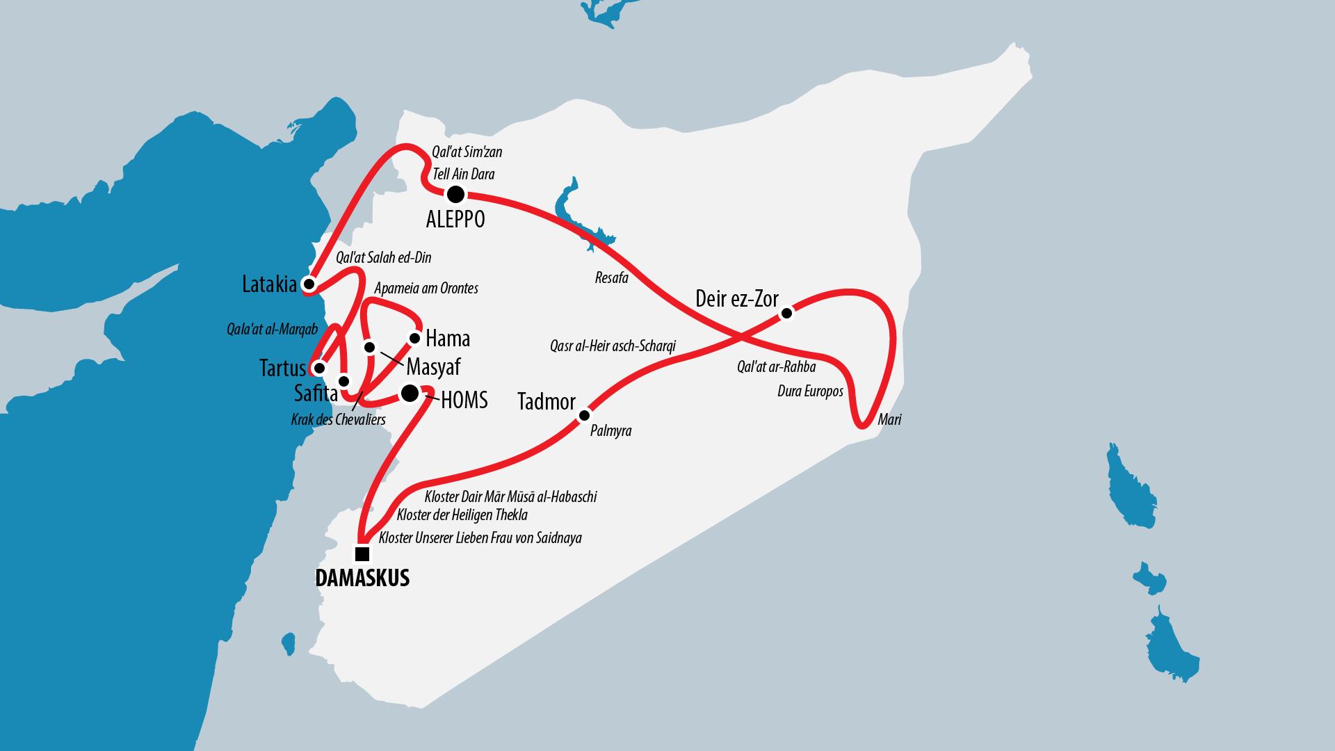 Reiseroute Syrien 2009
