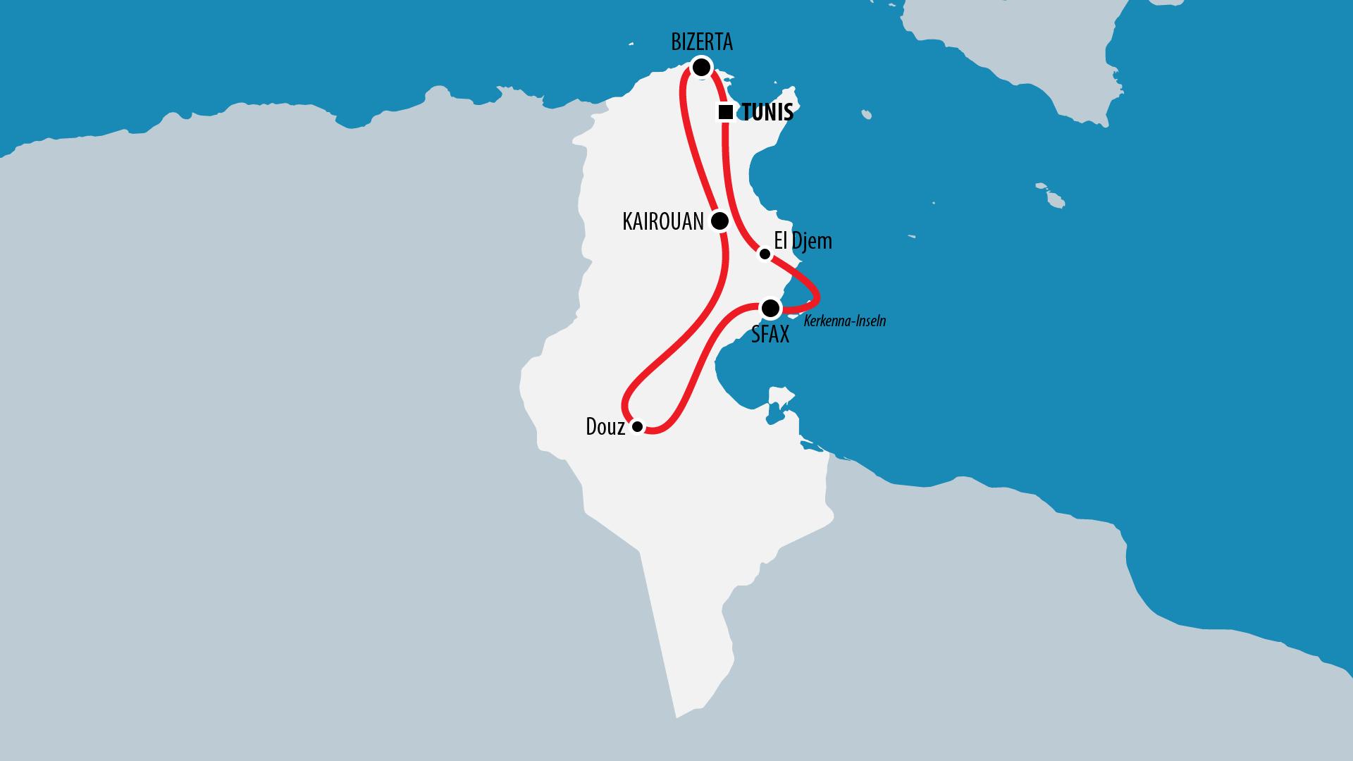 Reiseroute Tunesien 2011