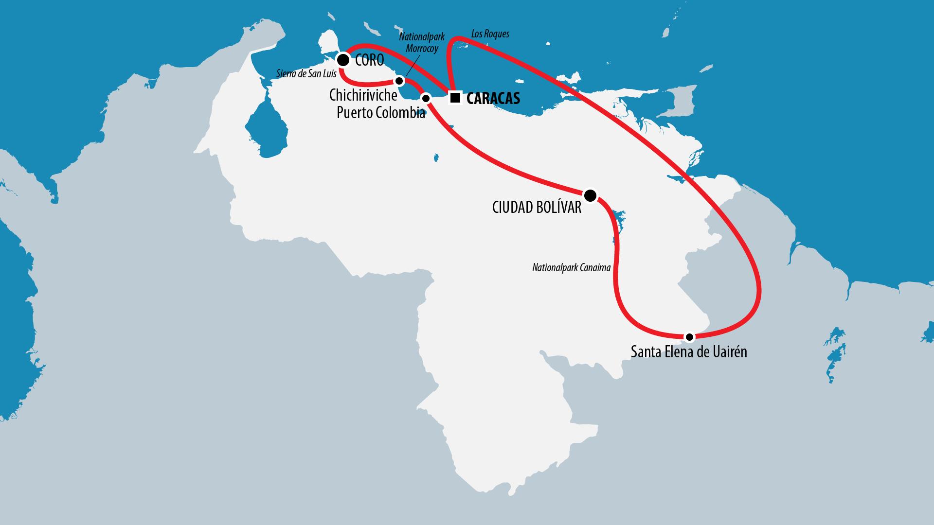 Reiseroute Venezuela 2014