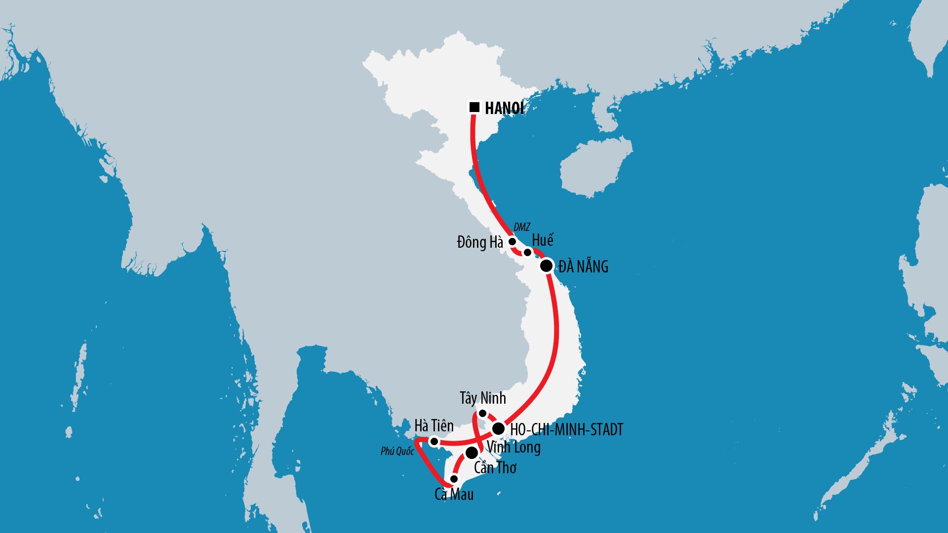 Reiseroute Vietnam 2010