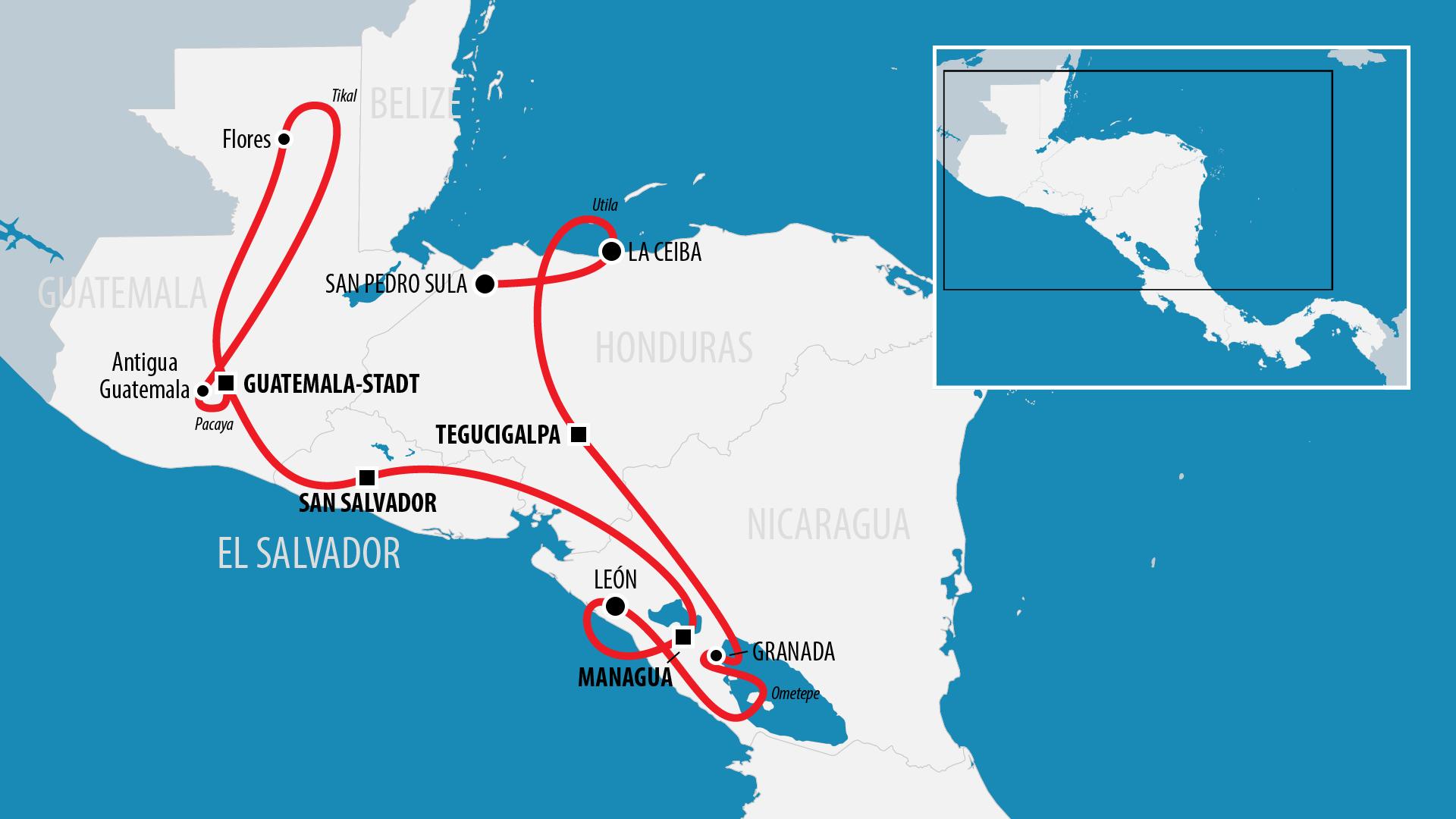 Reiseroute Zentralamerika 2012