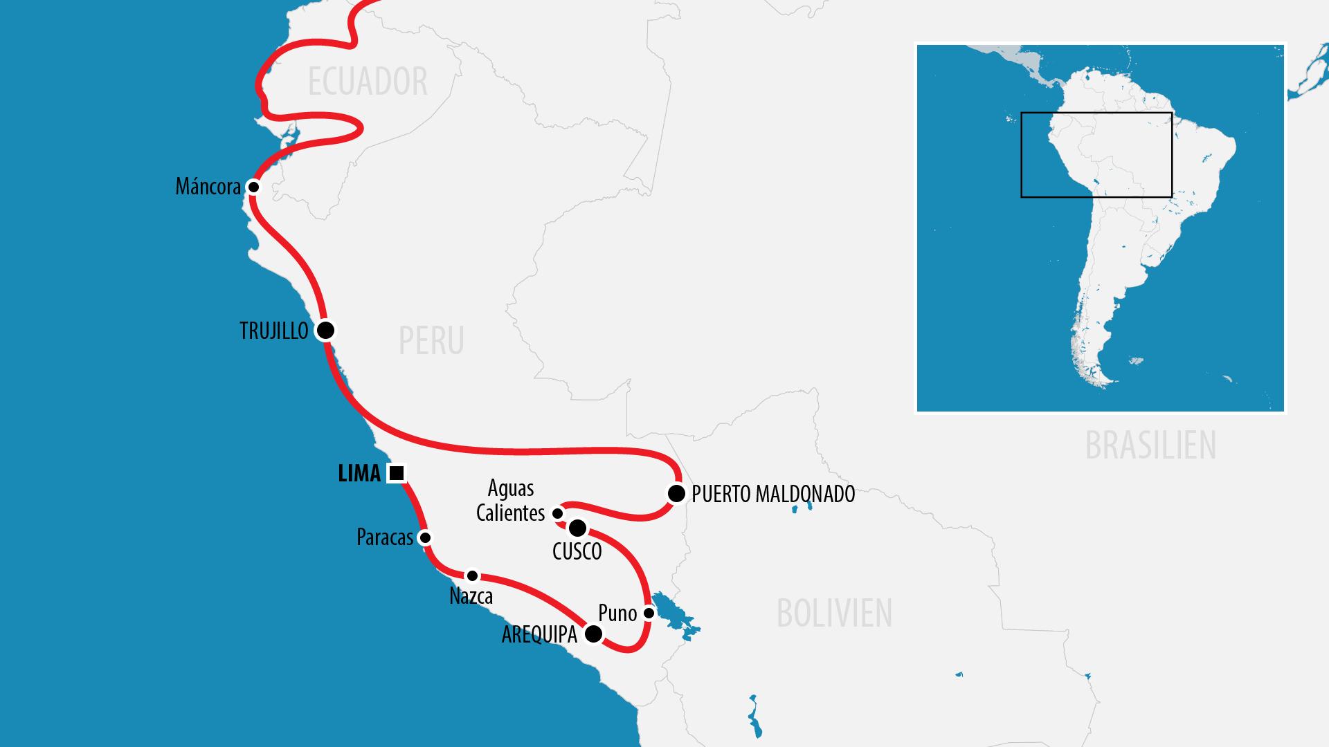Reiseroute Südamerika 2017 (Peru)
