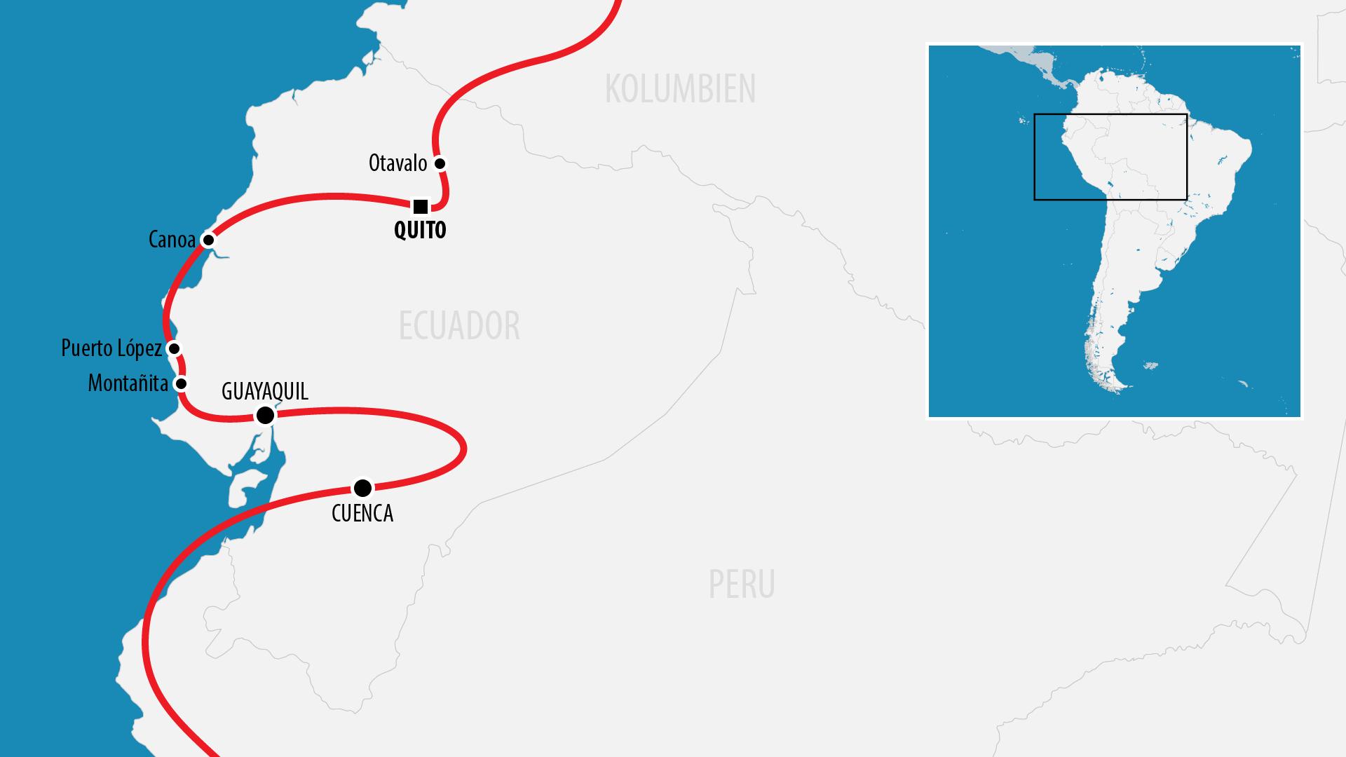 Reiseroute Südamerika 2017 (Ecuador)