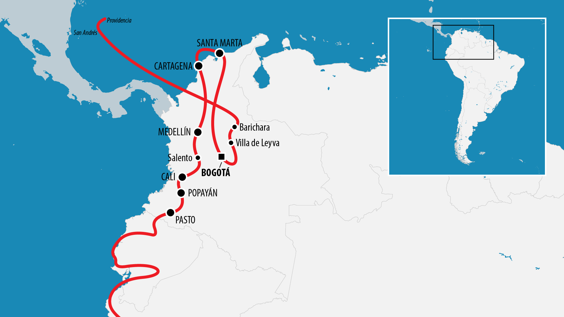 Reiseroute Südamerika 2017 (Kolumbien)