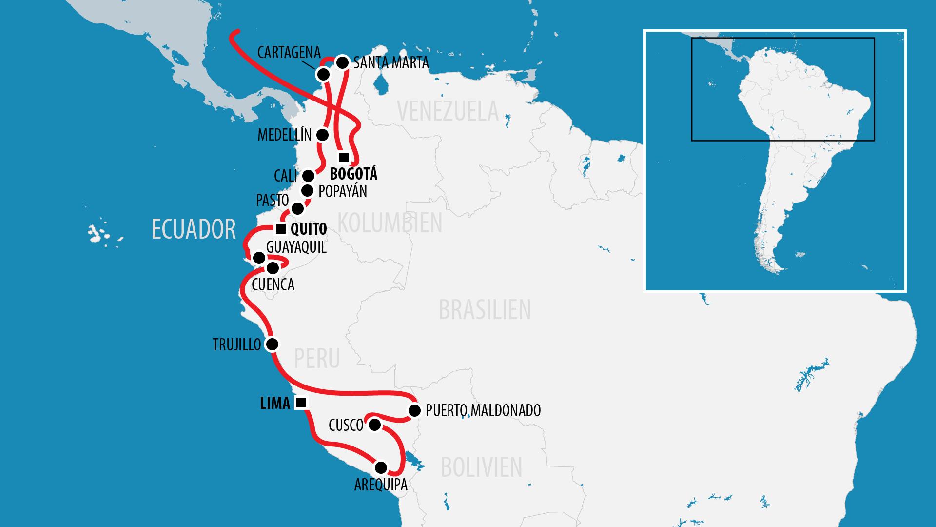 Reiseroute Südamerika 2017