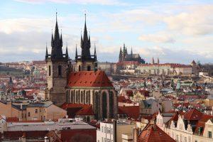 Blick auf die Teynkirche, Prag, Tschechien