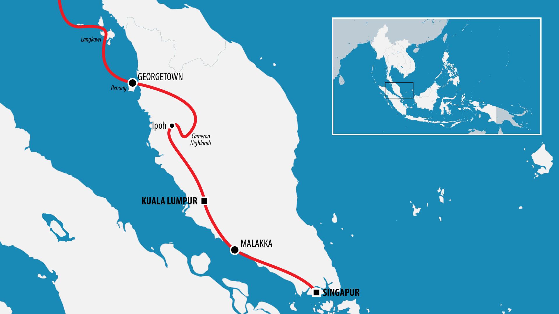 Reiseroute Südostasien 2018 (Singapur & Malaysia)