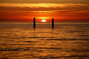 Sonnenuntergang auf Schouwen-Duiveland, Zeeland, Niederlande