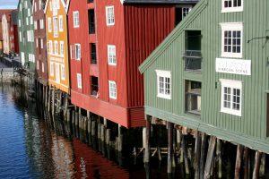 Speicherhäuser an der Nidelva, Trondheim, Norwegen
