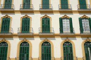 Hausfassade in Málaga, Andalusien, Spanien